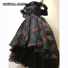 の母花嫁ドレス夜会服黒オーガンジーカーネーションプリントドレス高低オフショルダー 8 Us サイズ