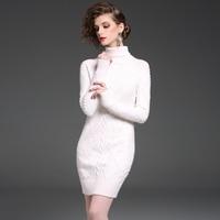 Moda Ofis Lady Yüksek Yaka Kazak Elbiseler Kadın Sonbahar Kış Sıcak Giyim Zarif Beyaz Asil Kız Kazak Elbise Yeni
