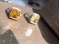Quality Guarant Sale Promotion!5 carat Cushion Cut NSCD Synthetic Gem ring female engagement ring yellow/clear stone