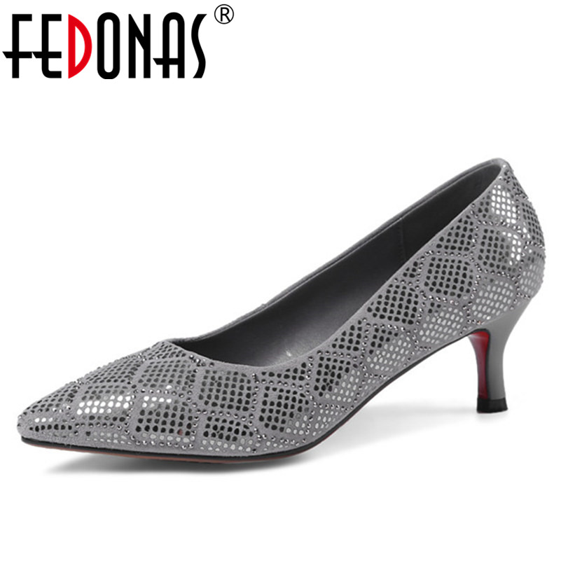 FEDONAS Top Quality Women Genuine Leather Shoes High Heels Pumps Glitters Party Wedding Shoes Woman Sexy Pointed Toe Pumps hot sale pointed toe buckle charm fashion wedding shoes genuine leather sexy red pumps women pumps high quality high heels shoes