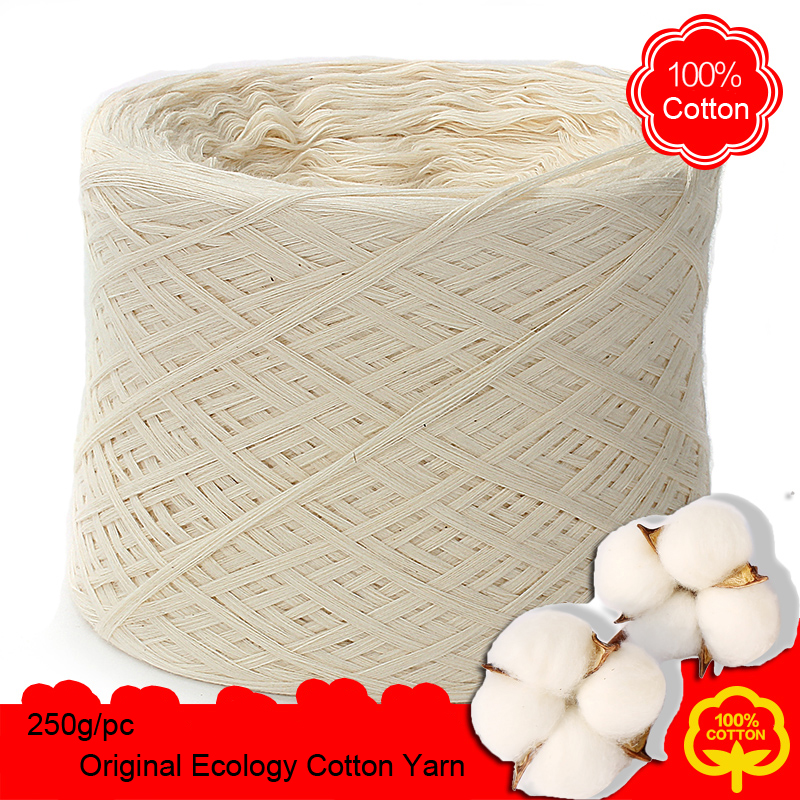 Winter 250g/pc White Non Bleached Original Ecology Healthy Cotton Knitted Yarn Baby Natural Soft Yarn For Crocheting Knitting