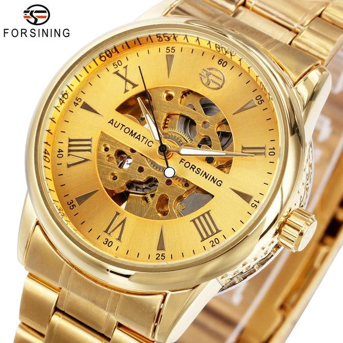 WINNER Luxury Men Women Watches Automatic Mechanical Lover's Wristwatch Stainless Steel Band Luminous Hands Skeleton Clock 2018