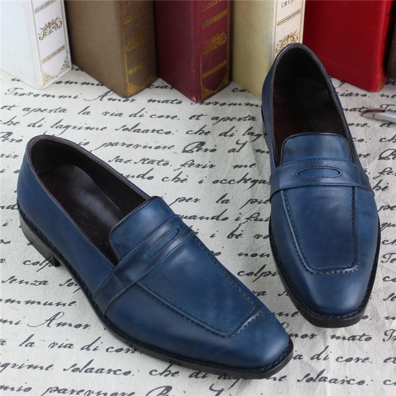 Deslizamento Personalizado Couro Genuíno Goodyear Welted Maloneda Cheio Sapatas Cor Azul Handmade De Confortável Escritório Sapatos Mocassins Em Casuais vqCCdYwnP
