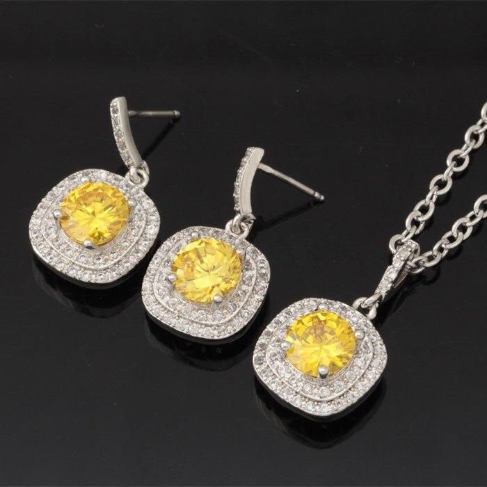 8f5cfeec1af9d U7 or argent couleur collier ensemble 10 option couleurs pendentif collier  boucles d oreilles nature zircon ensemble de bijoux pour les femmes s439