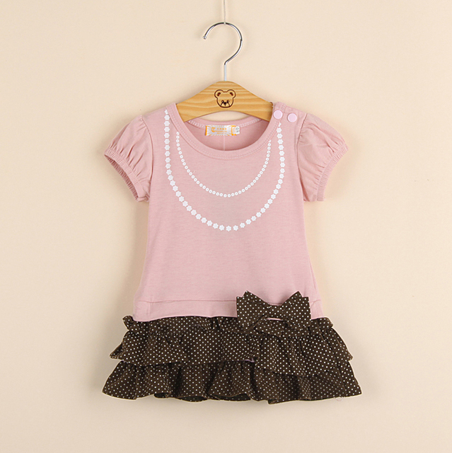 Free life style girl dress/ Shirt with jewelry necklace+cake dress with bowknot/2 color:pink and brown,1 pcs