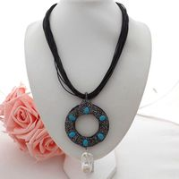 GE060106 19 22 Strands Black Leather Necklace Blue Stone Keshi Pearl Pendant