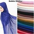Простой шифоновый шарф с пузырьками, хиджаб, женская накидка, Ранняя повязка на голову, мусульманские хиджабы, шарфы/шарфы 55 цветов