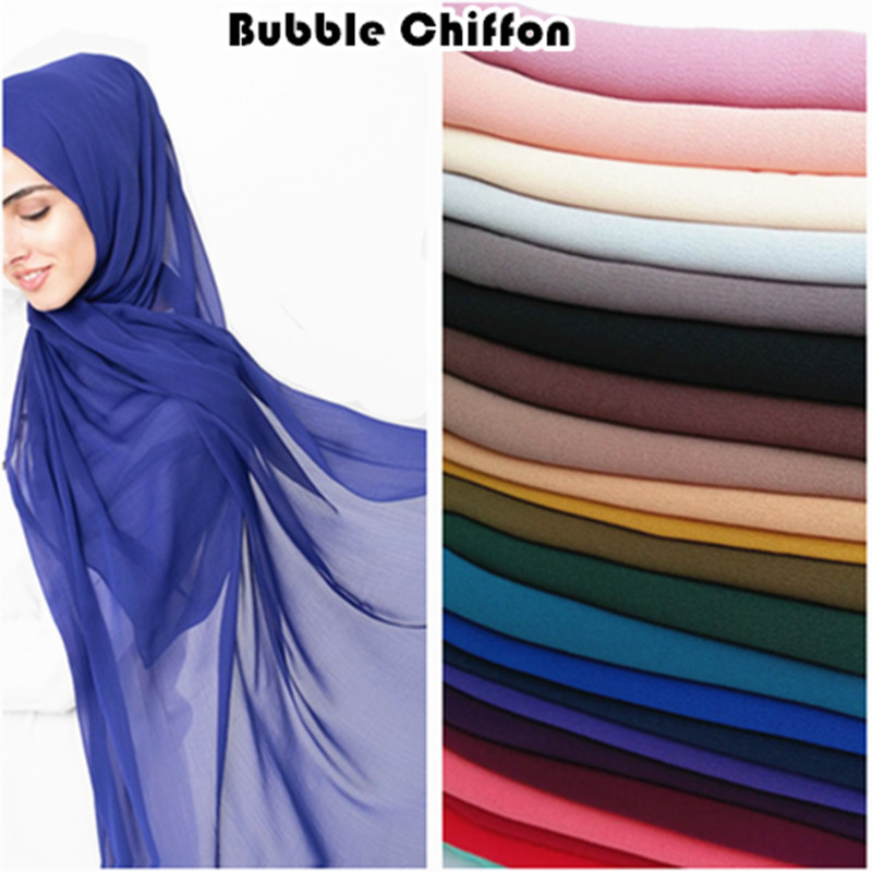 Hot sale plain bubble chiffon hijab solid color scarf scarves fashion Muslim headband popular hijabs gorgeous muffler 10pcs/lot-in Women's Scarves from Apparel Accessories