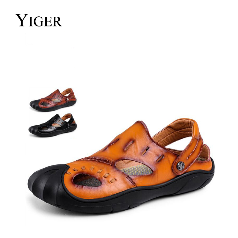 d290cb98095 YIGER New Men s Sandals Leisure Genuine Leather Casual Beach Shoes Non-slip  Sandals Slippers Dual Large Size 38-46 0064