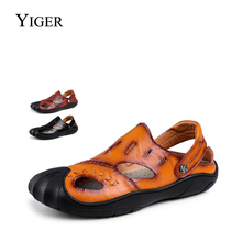 YIGER New Men's Sandals Leisure Genuine Leather Casual Beach Shoes Non-slip Sandals Slippers Dual Large Size 38-46 0064