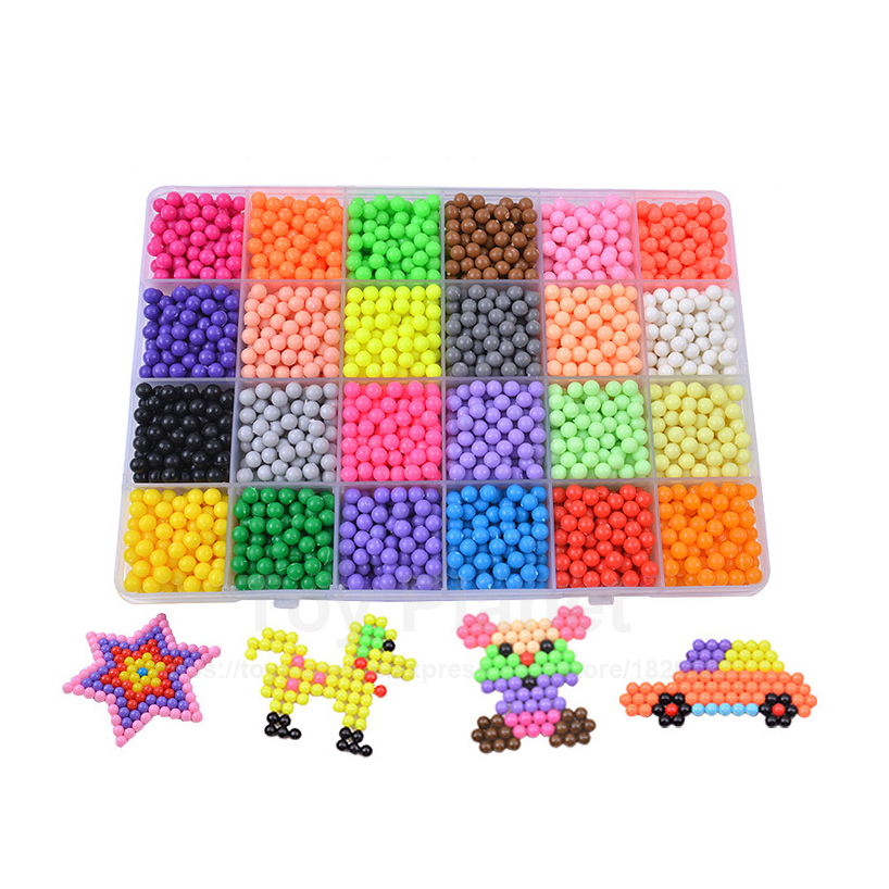 24 Colors 3600pcs Agua Beads Set With Accessories Perler Magic Aqua Spray Beads Perlen 3D Puzzles Children Educational Toys