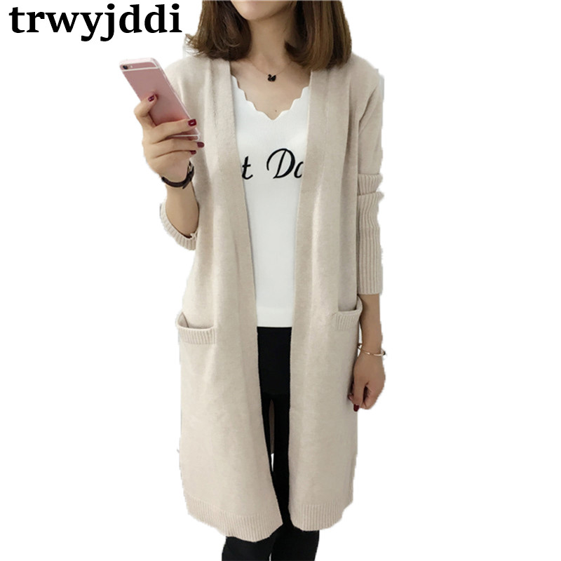 Long Sweater Coat Female Korean 2018 New Spring Autumn Casual Outside Loose Wild Knitted Cardigan Overcoat Large Size hl385