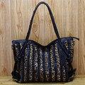 Caerlif xmas presente para a mamã bolsas femininas ombro sacos crossbody saco de couro genuíno bolsas ladies tote bag saco de grãos leopardo