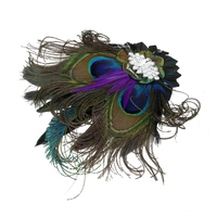 Peacock Feather Fascinator Hair Clip Wedding Festival Costume Party 1920s