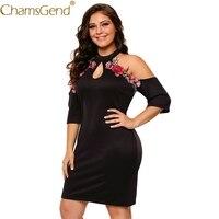 Chamsgend Vestido Nuevo Diseño Atractivo de Las Mujeres Del Hombro Del Bordado de Rose Apliques Halter Mini Vestido Coktail Partido XL, XXL, XXXL 71106