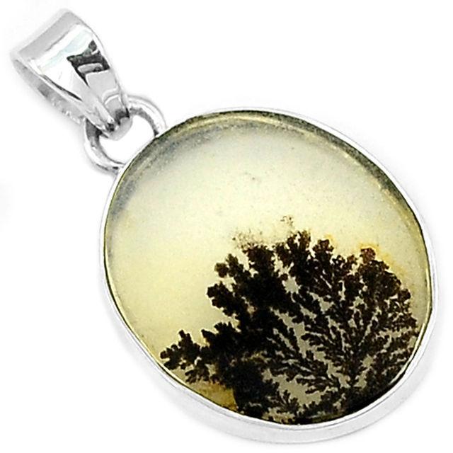 Genuine Scenic Dendritic Agate Pendant 100 925 Sterling Silver 33 MM AP0838