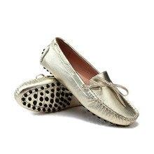 Размер США 5 6 7 8 9 Новый Золото серебро НАТУРАЛЬНАЯ Кожа Кружева до рулевой Loafer Вождения Мокасины поскользнуться на Loafer женщины плоские балетные туфли на плоской подошве