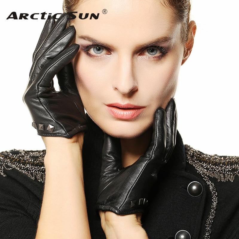Brand Genuine Leather Gloves Spring Autumn Fashion Women Sheepskin Gloves Wrist Rivet Finger Driving Glove L096NN