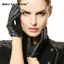 Women Leather Gloves Rivet Wrist Genuine Black Sheepskin Fashion Goatskin L096NN