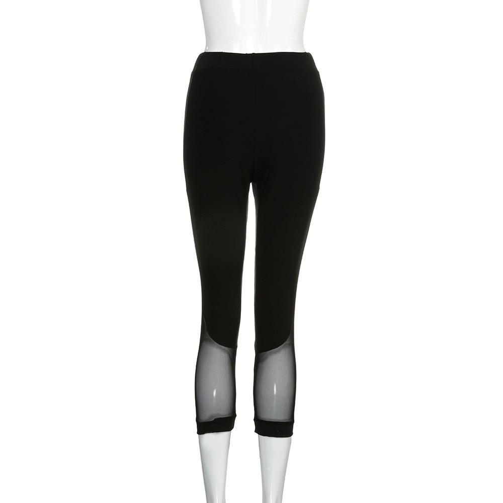 a89f51218df9e 2019 Black Sexy Mesh Woman Yoga Pants Sport Gym Fitness Trousers ...