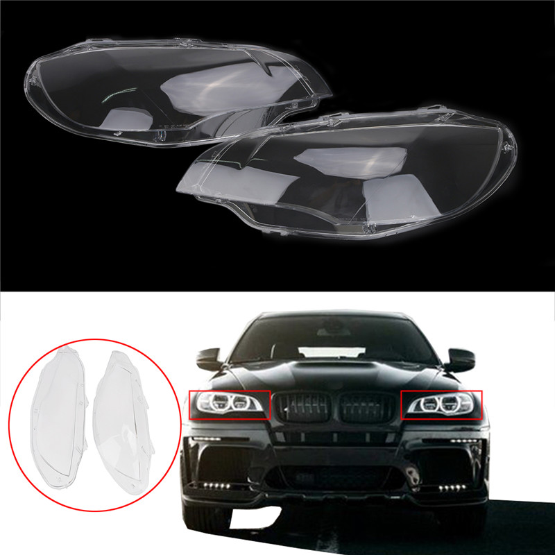 1 Pair Transparent Car Housing Headlight Lens Shell Cover Lamp Assembly For BMW X5M X6 E71 30dx M57N2 35dx X6 right side housing clear front fog light lamp cover for bmw x6 e71 e72 oem 63177187630 car styling
