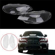 1 пара Прозрачный Автомобиль Корпус фар линзы В виде ракушки крышка лампы для сборки BMW x5m X6 E71 30dx m57n2 35dx X6