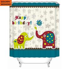 New Arrival Fashion Creative Cartoon Shower Curtain Thickened Bathroom Toilet Elephant Waterproof Home Decor