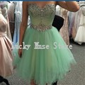 2017 Mint Green Tulle Short Homecoming Dress Backless Crystal Cocktail Party Gowns Vestido De Festa Curto 8th Grade Prom Dresses