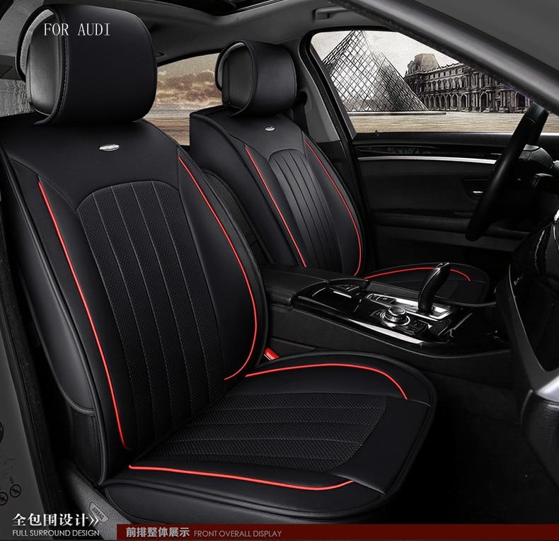 audi A1 A3 A4 A6 A5 A8 Q3 Q5 small hole Ventilation black waterproof soft pu leather front&rear full car seat covers for audi a1 a3 a4 a6 a5 a8 q1 q3 q5 q7 new brand luxury soft pu leather car seat cover front