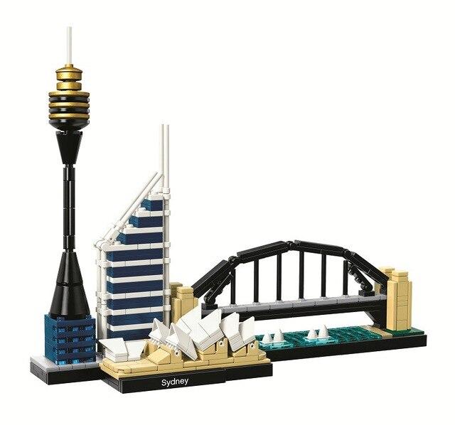10676 ใช้งานร่วมกับเลโก้สถาปัตยกรรมซิดนีย์ Skyline Building Blocks ชุดอิฐเมืองชุดคลาสสิกเด็กของเล่นคลาสสิก