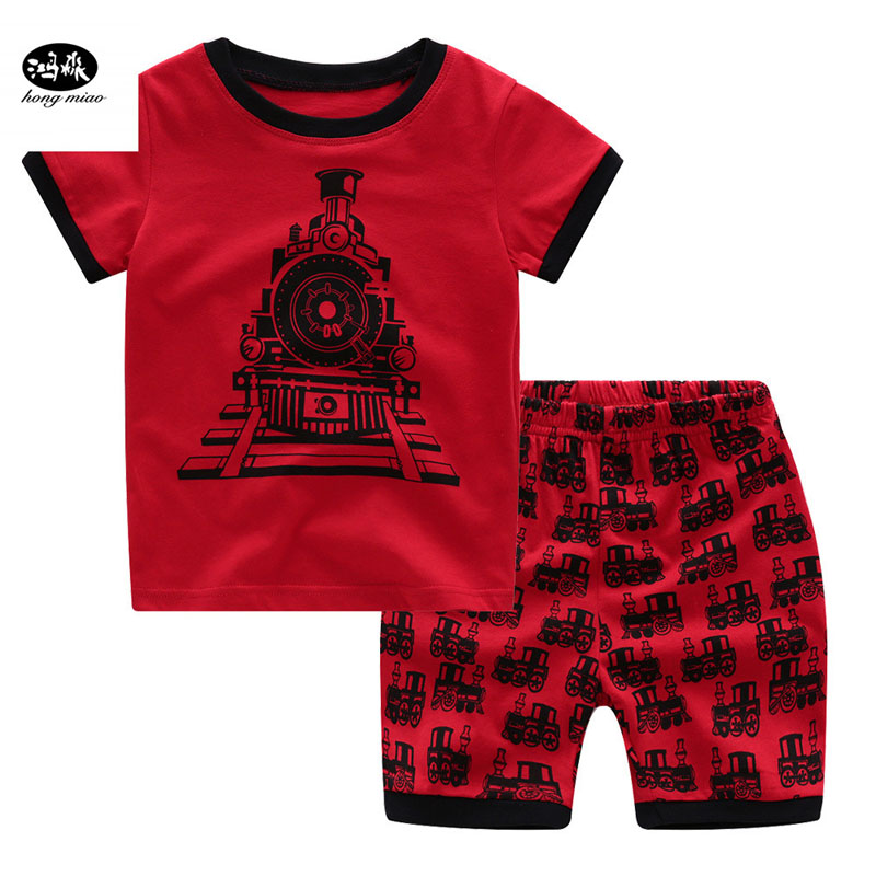 Patrol Car T Shirt Baby Children Pajamas for Boys Pyjamas Kids Pajamas Boy Clothing Set Shorts Child Sleepers Racing in Pajama Sets from Mother Kids