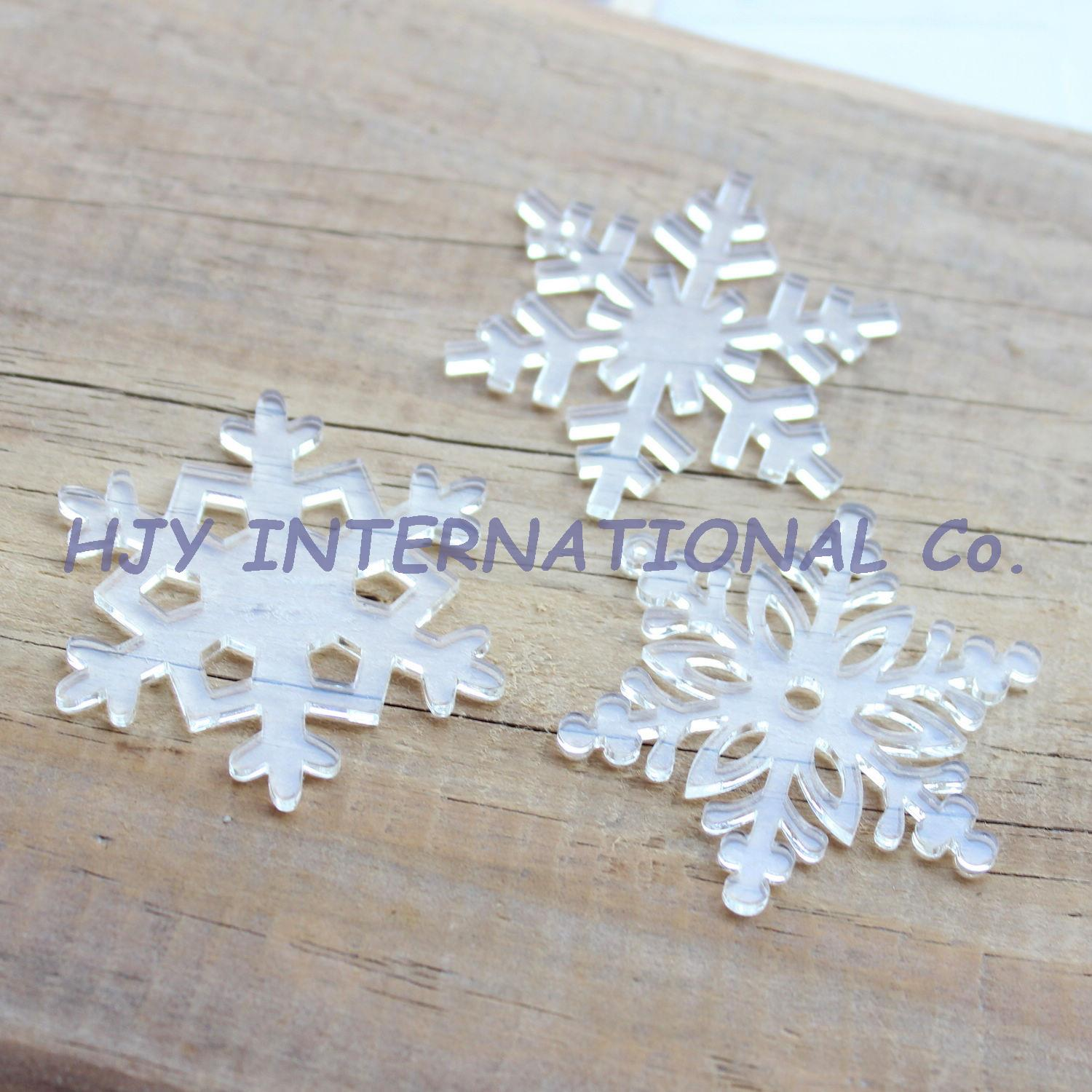 Acrylic clear ornaments -  3styles 30pcs Lot 50mm Assorted Clear Acrylic Snowflakes Christmas Ornaments 2 0