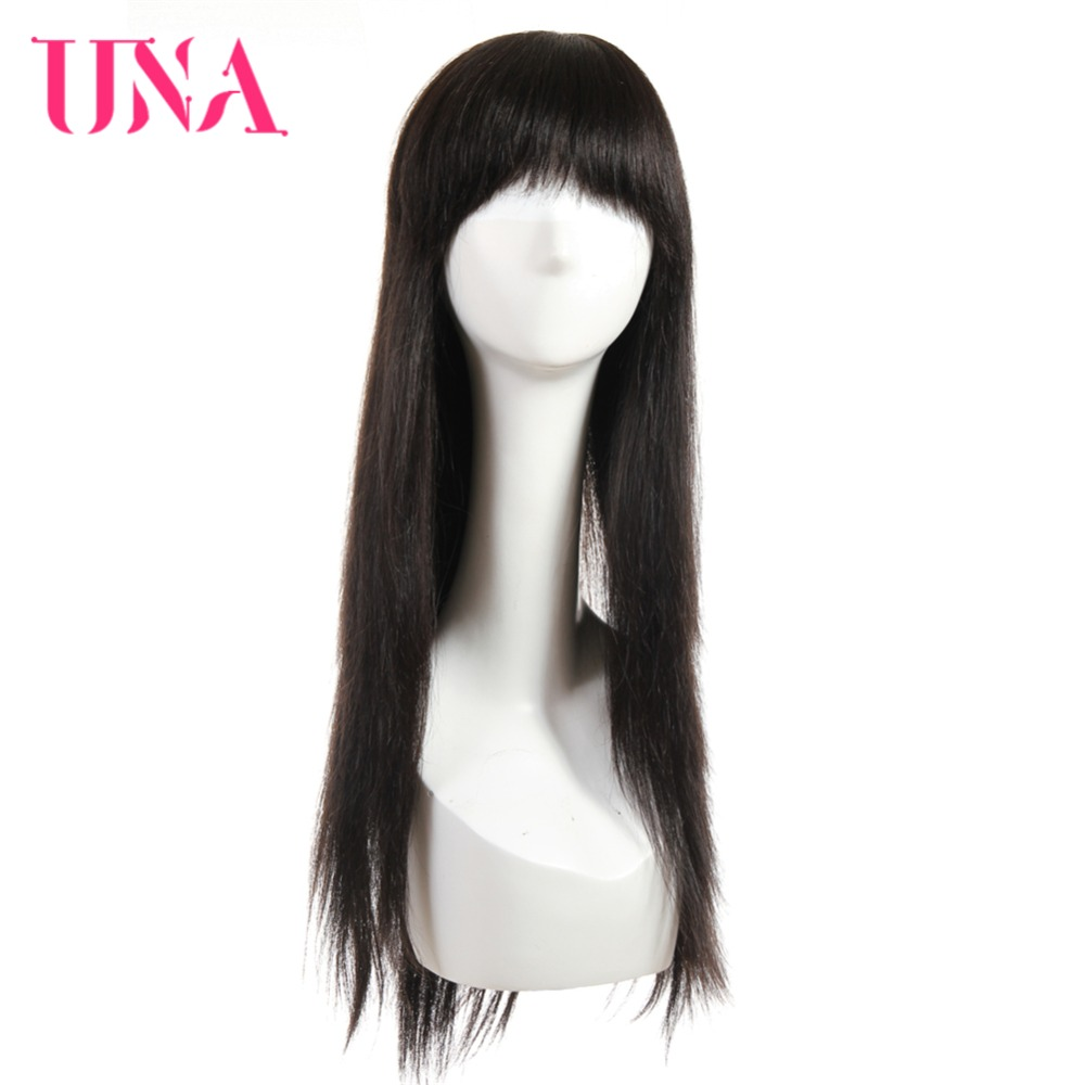 UNA Straight Malaysian Human Hair Wigs 22 Long Wigs Half Hand Tied Wigs Non Remy Hair