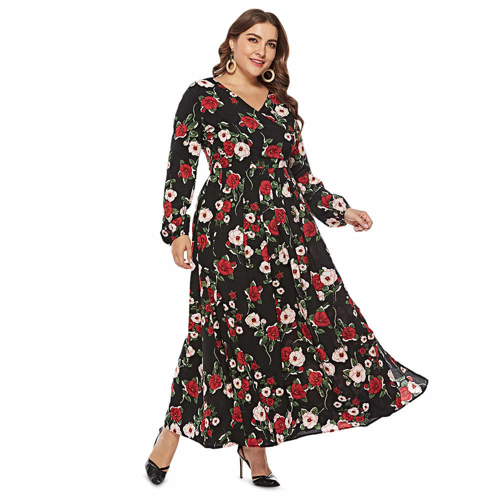 1e856c40304 Wipalo Plus Size XL-6XL Women Dress Floral Print Long Sleeve Maxi Dress  Spring Summer