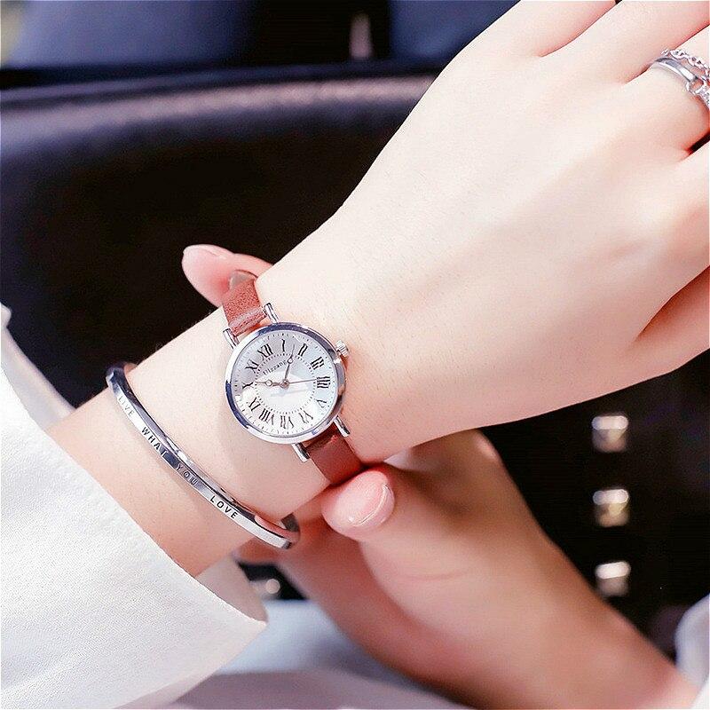 Ulzzang Simple Women Bracelet Watches Vintage Roman Numeral Ladies Watch Elegant Thin Leather Strap Female Quartz Wristwatches