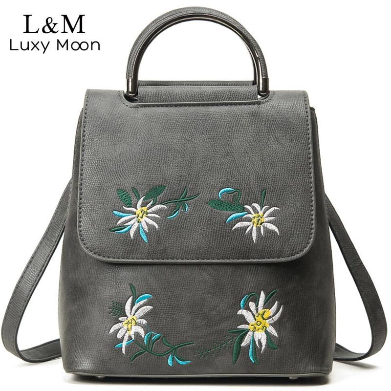 2017 Women Backpack Preppy Style PU Leather Embroidery Backpacks for Teenage Girls School Rucksack Shoulder Bags
