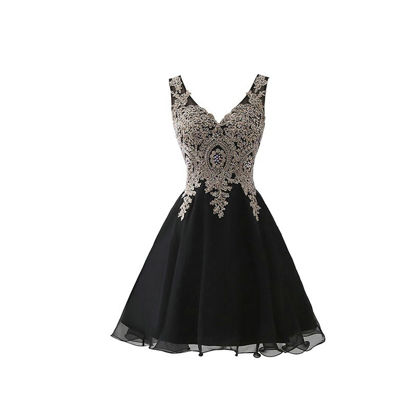 2019 Black Tulle Sleeveless Short Prom Dress Elegant Applique A-line Prom Gown Gala Vestido De Festa