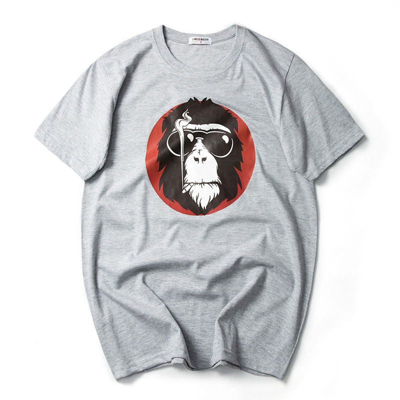 2017 Fashion Monkey with Sunglass Printed Men T-shirt Short Sleeve Funny T Shirts for Man Hipster O-neck Cool Top Tshirt 7XL 2