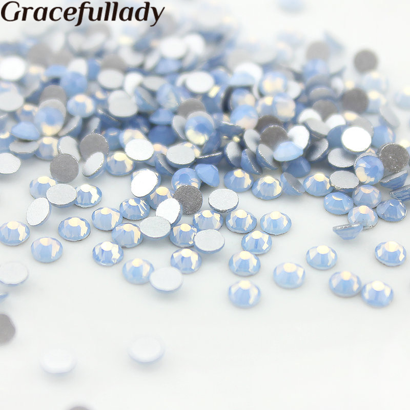 SS3-SS12 1440pcs Blue Opal 1.9-3.2mm Flat back Crystal non-hotfix Glue on Crystal Nail Art Rhinestones for crafts nail sticker ss6 crystal light rose nail rhinestones 1440pcs lot flat back non hotfix glitter nail stones diy 3d nail phones decorations