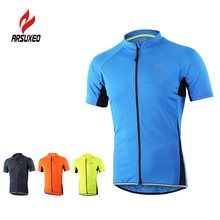Arsuxeo S-XXL Men's Cycling Jersey Autumn Sportswear Breathable Short Sleeve Shirt Quick Dry MTB Bike Bicycle Rinning Shirts