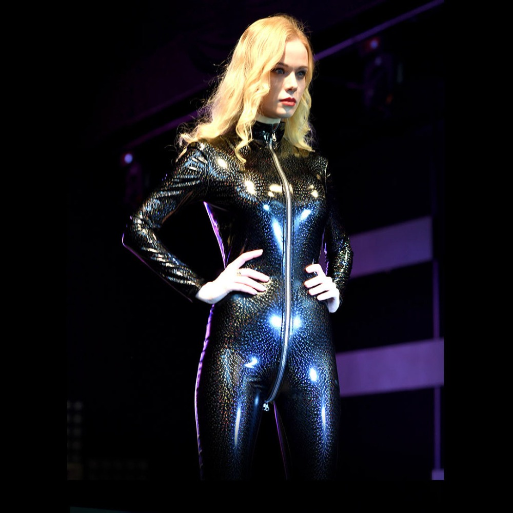 0245bac1e89f Plus Size Long Sleeve Bodysuit Glitter Rompers Womens Jumpsuit Overalls  Zipper Open Crotch Bodysuit PVC Latex