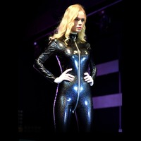 Plus Size Long Sleeve Bodysuit Glitter Rompers Womens Jumpsuit Overalls Zipper Open Crotch Bodysuit PVC Latex Catsuit One Piece