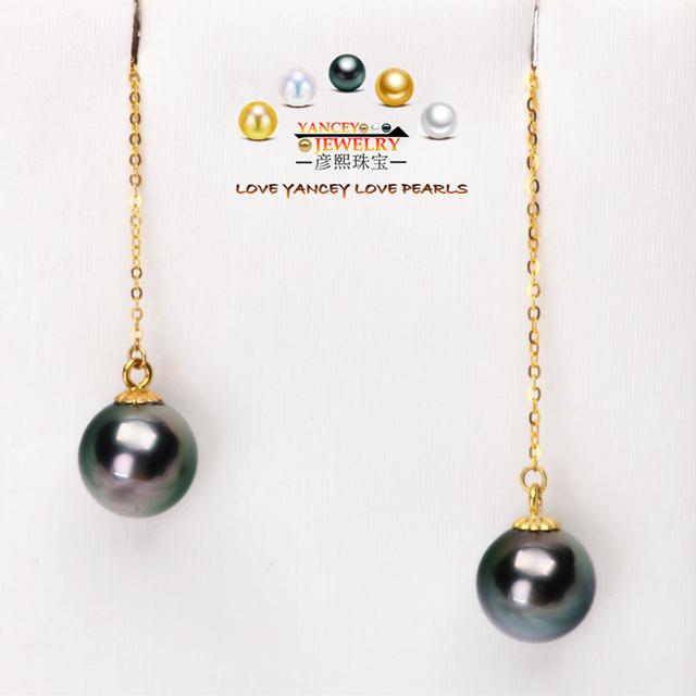 Yancey Brand Promotion Natural Tahitian Seawater Black Pearl Drop Earrings Fine Jewelry G18k Gold
