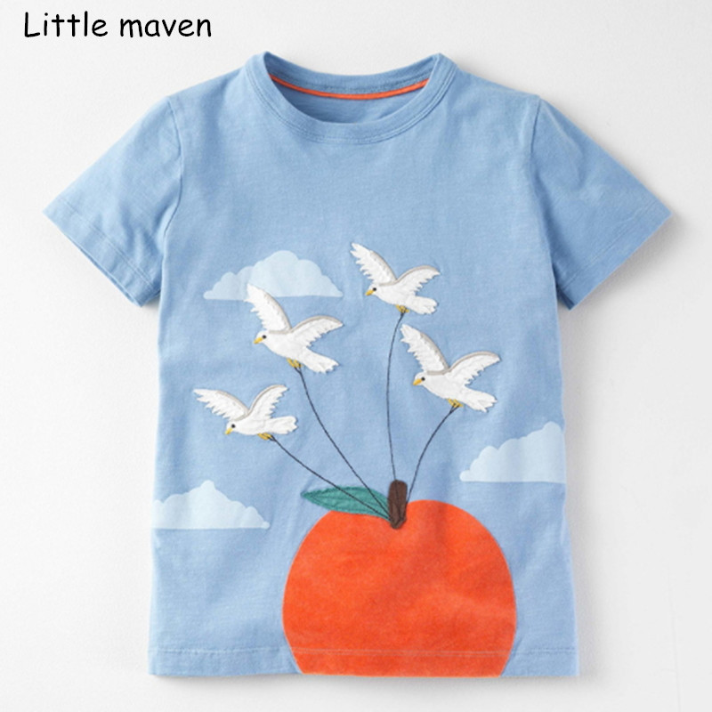 2604ba8af Little maven niños 2018 verano nuevo bebé Niñas Ropa de manga corta pájaro  bordado Camiseta de algodón marca camisetas 50973