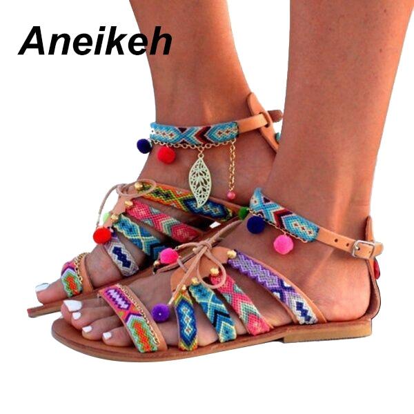 Cruz Zapatos Boho Mujer Brown Flip Pompón Bohemio Flop Borla Correa Casual Gladiador Étnica Mujeres Planas Romano Aneikeh Sandalias PYqw5Y
