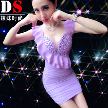 Summer Dress Chiffon ruffles slim dress sexy nightclubs singer dancer performance show party bar nightclub casual formal prom