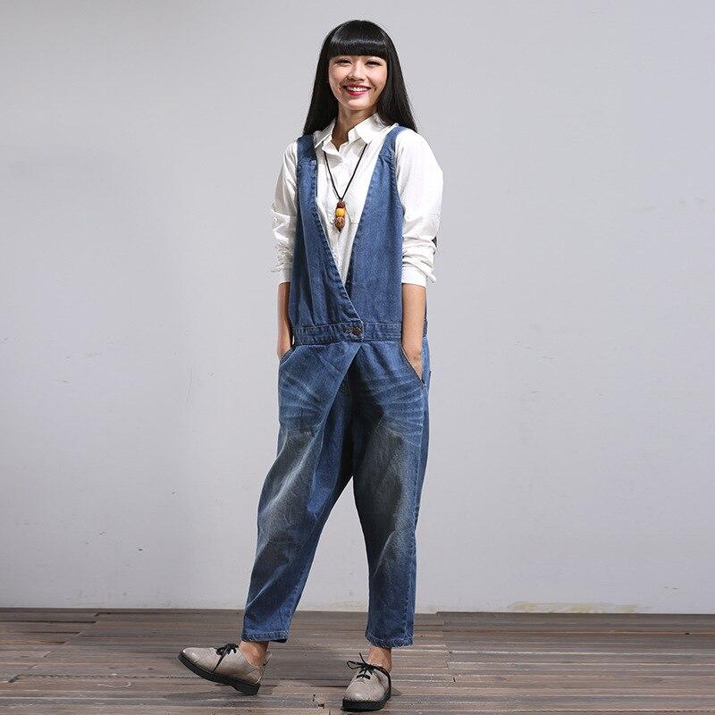 Women Korean Overalls Denim Jumpsuits Jeans Female Denim Harem Pants One Button Trousers Bleached