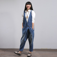 Women Korean Overalls Denim Jumpsuits Jeans Female Denim Harem Pants One Button Trousers Bleached