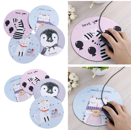 1pc Anti-slip Cute Art Design Mouse Pad Round Office Mice Pad Rubber Home Computer Table Mat Study Room Pc