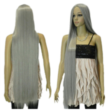 Free Shipping !!! New wig Cosplay Long Gray Halve Straight Wig 100cm